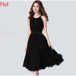 Wholesale Ladies Midi Length Dresses - Hot Women Dresses Elegant Sweet Sleeveless Casual Chiffon Dress Knee Length Lady Summer A-line Pleated Long Maxi Dress Knee Length SV023218