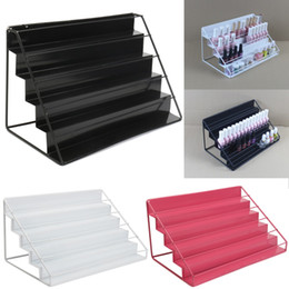 Wholesale Nail Polish Cases - 1 Pcs 5 Tiers Nail Polish Shelf Iron Metal Clear Cosmetic Varnish Makeup Jewelry Display Stand Rack Holder Women Organizer Case