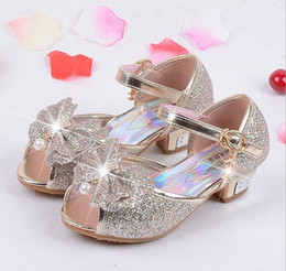 Wholesale White Princess Wedding High Heels - 2018 Children Princess Sandals Kids Girls Wedding Shoes High Heels Dress Shoes Party Shoes For Girls Pink Blue Gold