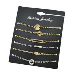 Wholesale Rhombus Beads - 6 Pcs Set Gold-Color Silver Color Chain With Geometric Circle Rhombus Beads Shape Charm Bracelet For Women Accessories