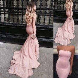 Wholesale Tight Satin Evening Dress - Blush Pink Mermaid Prom Dresses Strapless Satin Bodycon Evening Gowns With Court Train Tight Long Special Occasions Dress