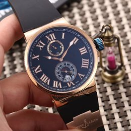 Wholesale Wind Butterfly - TOP Qualtiy Top Brand Luxury Rose Gold 18K UN Roman Black Rubber Watches Fashion Mens Mechanical Movement Limited Edition Men Wristwatches