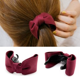 Wholesale Tie Clips For Girls - 2017 New Hair Claw Solid Big Bows Banana Hairpins Ties Ponytail Headband Hair Clips Hair Accessories For Women Girls Headwear