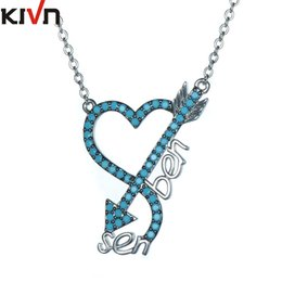 Wholesale Christmas Chain Letters - KIVN Fashion Jewelry CZ Cubic Zirconia Heart Arrow Letter Womens Girls Wedding Pendant Necklaces Promotion Christmas Birthday Gifts
