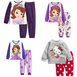Wholesale Kitty Girl S Sets - New Children Clothing Set Baby boy's pajamas suits Girls Clothing Sets sleepwear hello kitty  pajamas cartoon 100% cotton s