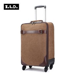 Wholesale Brand Trolley Case - 16 20 24 inch ZLD Brand Canvas Suitcase Women and Men Luggage Universal Wheels Trolley Bag Boarding Box Password Portable Case