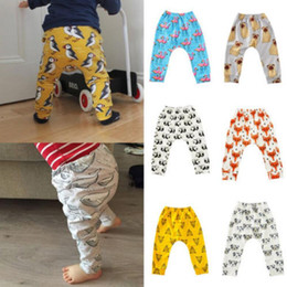 Wholesale Dinosaur Pants - Cute Toddler Leggings Cartoon PP Pants Animal Printed Haroun Pants Flamingos Fox Dinosaur Tights Casual Trousers Baby Kids KKA2373