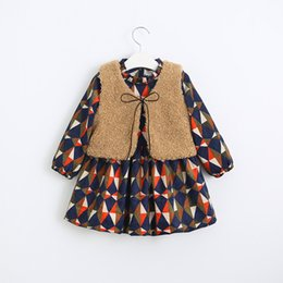 Wholesale Boat Jacket - New Fall Kids Plaid Ruffles Cotton Dress with Fleece Vest Jackets Vintage Sweet Kids Girls Party Holiday Dress