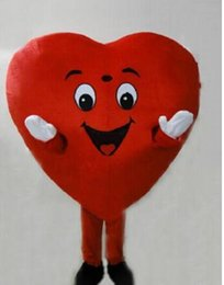 Wholesale Heart Costumes Adults - Free shipping Adult Size Red Heart Mascot Costume Fancy Heart Mascot Cosbirthday gift costume
