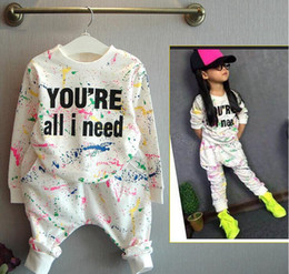 Wholesale Babys Suits - Fashion Baby Clothing Sets For 2-7Years Infant Letter Print Tshirt And Pants Casual Suit For Babys Girl Boy Outfit