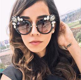 Wholesale Water Drop Frame - 2017 Women Luxury Catworm Drop Water Diamond Sunglasses Designer Ladies Crystal Transparent Reflective UVA Sunglasses SMU04S With Case