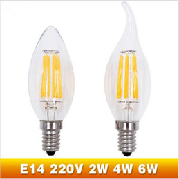 Wholesale Vintage Style Bulb Wholesale - Super Bright LED Filament Candle Light Bulb E14 220V 2W 4W 6W C35 Edison Bulb Retro Antique Vintage Style Cold White Warm White