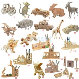 Wholesale Kids Animal Toys Move - 3D Wooden Puzzles Woodcraft Construction Kit Moving Model Kit DIY Puzzles Kids Educational Toys Gifts