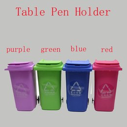 Wholesale Pen Case Holder - Big Mouth Toys Mini Curbside Trash Pencil holder Recycle Can Case Table Pen Holder Storage Stationery Office Organizer Tools