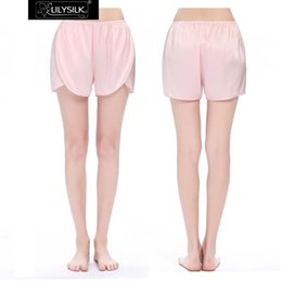 Wholesale Dip Hem - Wholesale-Lilysilk Women Summer Shorts Light Pink Satin Chinese 100% Pure Silk 22 Momme Dip Hem Cozy Mini Pants Summer Clothing 2016 Lady