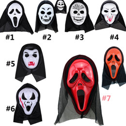 Wholesale ghost scream mask - Halloween Mask Scary Ghost Mask Scream Costume Party Creepy Skull Scary Ghosts Masks Cosplay Costumes Prop Mask HH7-84