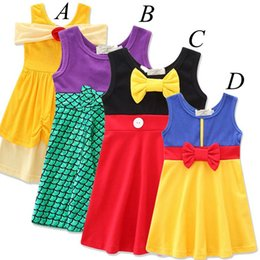 Wholesale Belle Summer - ins baby girls Mermaid snow White Mickey party dress summer cartoon Children big Bow Belle princess party dresses Kids cotton dress 1-7year