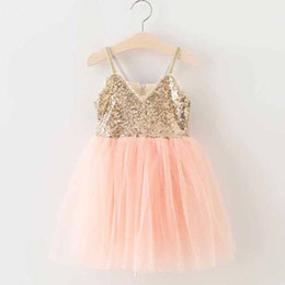 Wholesale Tulle Clothing Wholesale - Girls Sequin Dress Kids Summer Dress Children Clothes Kids Clothing 2016 Lace Princess Dresses Girl Dress Ruffle Tulle Dress Lovekiss C22926