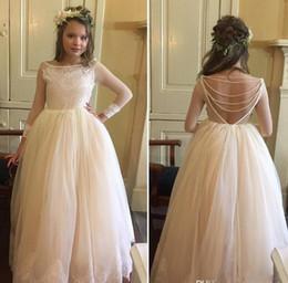 Wholesale Long Tulle Flowergirl Dresses - 2017 little girls wedding dresses scoop neck beading v backless appliqur lace tulle flowergirl dress long sleeves princess party gowns