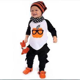 Wholesale Halloween Pumkin - INS Orange Pumkin Sunglasses Boys 2pcs Set Clothing 2016 Autumn Halloween Outfits Long Sleeves T-shirt + Black Pants Pajamas for Baby K459