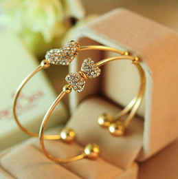 Wholesale Korean Fashion Jewelry Bracelet - Korean Version Love Hearts Bangle Of The Fashion Fine Jewelry Bow Ribbon Full Rhinestone Bracelet For Women Love Hearts Bangles
