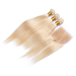 Wholesale Platinum Blonde Closure - #613 Blonde Peruvian Human Hair 3Bundles With 4x4 Lace Top Closure 4Pcs Lot Platinum Blonde Weaves With Closure Mink Peruvian Straight Hair
