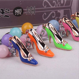 Wholesale Shoe Heel Rings - High heels keychain Advertising activity promotion small gift Mini High Heel Shoe key ring buckle hanging simulation small shoe decoration