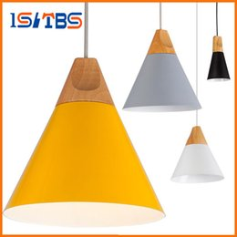 Wholesale Coffee Lamps - Free shipping Home Dining Room Pendant Lamps Modern Colorful Restaurant Coffee Bedroom Pendant Lights Iron Real Wood Material