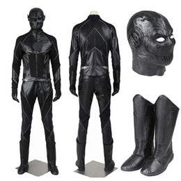 Wholesale Popular Halloween Costumes - Popular Super Hero Movie The Flash Season Zoom Flash Black Flash Cosplay Costume Villain Full Suit with Shoes Mask For Halloween