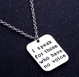 Wholesale Veterinary Animals - Wholesale I Speak For Those Who Have No Voice Pendant Necklace Veterinary Vet Tech Animal Rescue Veterinarian Necklace