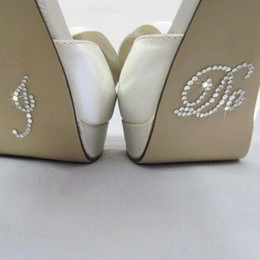 Wholesale Satin Low Heel Wedding Shoes - Silver Crystal Wedding Shoe Stickers DIY Bridal Sandal Bottom Stickers Bridal Accessories I Do and Me Too Shoe Stickers Clear Rhinestone