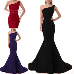 Wholesale Long Evening Formal Bridesmaid Dress Red - Sexy Black Mermaid Prom Party Dresses One Shoulder Zipper Back 2018 Long Custom Made Formal Evening Bridesmaid Gowns Maid of Honor