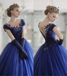 Wholesale Sweets Scoop - 2017 Vintage Quinceanera Ball Gown Dresses Scoop Neck Cap Sleeves Lace Appliques Tulle Navy Blue Long Sweet 16 Party Long Prom Evening Gowns