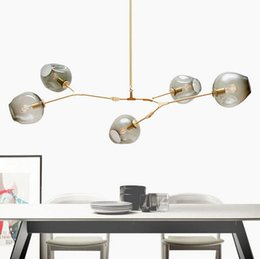 Wholesale Tree Bedroom - Lindsey Adelman Chandeliers Lighting Modern Globe Glass Bubble Pendant Lamp Natural Tree Branch Suspension Light Hotel Dinning Room Light