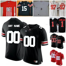 Wholesale Custom Black Football Jerseys - Mens Ohio State Buckeyes College Football Custom #1 12 15 16 25 White Black Red Limited Stitched Personalized Any Name Number Jerseys S-3XL