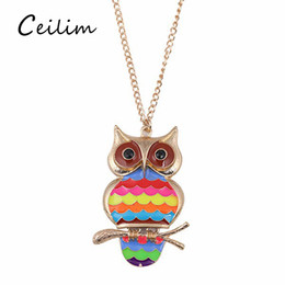 Wholesale Girls Enamel Jewelry - Long Link Chain Enamel Owl Necklace Pendant Women Girl Cute Gold-color Alloy Anime Animal Pendant Accessories Long 2017 Fashion Jewelry