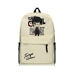 Wholesale Mouth Cartoon - Tokyo Ghoul School Backpacks for Boys Kaneki Ken Shoulder Bags Oxford Rucksack Zip Mouth Backpacks Boys Mochila
