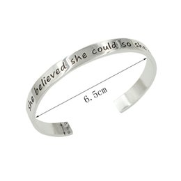 "Wholesale China Girl Movie - Gift Bangle Jewelry ""she believed she could so she did "",modern stylish bracelet for women & men boys&girls ,10pcs lot,free shipping~"