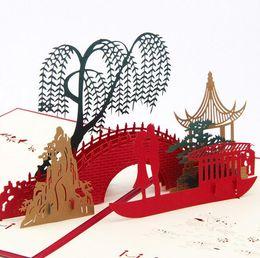 Wholesale Lover Bridge - Greeting Card 3D Pop Up Card Lover on Bridge Happy Valentine Anniversary Christmas Tanabata DHL free ship