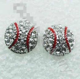 Wholesale Crystal Ball Earrings Sale - top style hot sale drop shipping baseball charm crystal earrings Dime Size Baseball Earring Stud Base Ball Fans Sports Jewelry World Cup