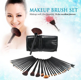 Wholesale Leather Hair Brush Cases - 32 PCS professional Wool Cosmetic Makeup Brushes sets with Black Leather Case H4456
