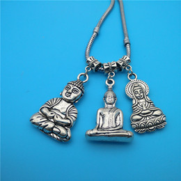 Wholesale European Mixed Tibetan Silver - Mixed Tibetan Silver Buddha head and statues Charms Pendants Jewelry Making Bracelet Necklace Fashion Popular Jewelry Accessories DIY V209