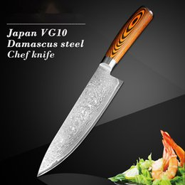 Wholesale Damascus Steel Kitchen - 8 inch inch Damascus kitchen knife cut meat slices cut vegetables practical Japanese vg10 chef knife Damascus steel sharp knife wood handle