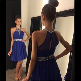 Wholesale light blue chiffon halter cocktail dresses - Royal Blue Halter Crystal Beaded Short Chiffon Homecoming Dresses 2016 Sexy Sleeveless Beaded Sash A Line Cocktail Gowns Party Dress Custom