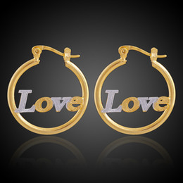 Wholesale Love Hoop Plating Earrings - Brass Copper Plated Double Color Letters Designed Jewelry Golden&Silver Circles Stud Hoop Fashion Earrings Word Love Baby Princess for Women