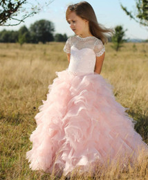 Wholesale Cute Blue Prom Dresses - Pink Short Sleeves Flower Girls Dresses Children Sheer Neck Tiered Long Cute Girls Pageant Dress Organza And Lace Birthday Kids Prom Dress