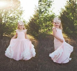 Wholesale Simple Flower Dresses Kids - Baby Pink Flower Girls Dresses For Weddings 2017 Simple Lace Cap Sleeves Floor Length A Line First Communion Dresses Tutu Kids Formal Wear