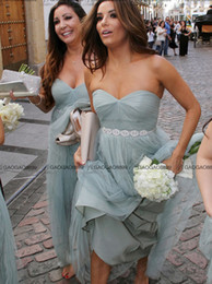 Wholesale Strapless Brown Bridesmaid Dress - Eva Longoria Dusty Blue Strapless beach Boho cheap Bridesmaid Dress with Beaded sash maid of honor wedding party gown Jenny Yoo Annabelle