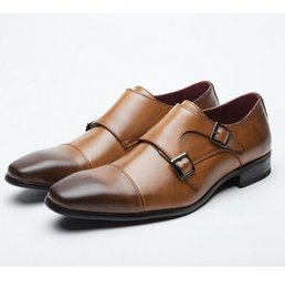 Wholesale Monk Strap Shoes Men - High quality Mens casual shoes luxury genuine leather flats business formal shoes mens dress brogues oxfords monk strap shoes zapatos hombre
