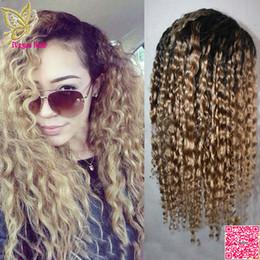 Wholesale Human U Part Wig - Honey Blonde Ombre Lace Front Human Hair Wigs Deep Wave Brazilian Glueless Human Hair U Part Wigs Ombre Two Tone #1BT27